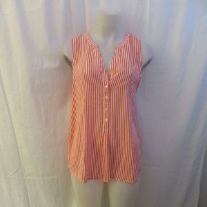 JOIE 100% SILK RED,WHITE STRIPED TOP L